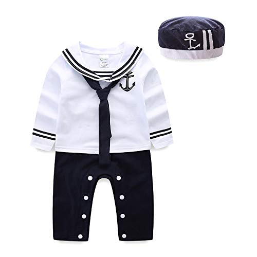 Cute Sailor Costume (Mud Kingdom Cute Baby Boy Clothes 9 Months White Long)