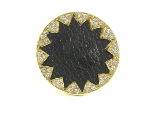 Magic Metal Black Starburst Ring Adjustable Crystal Encrusted Faux Leather RH13 Geometric Fashion Jewelry