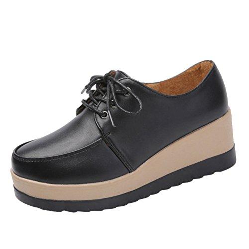 LvRao Women High Platform Shoes Lace UP Fashionable PU Leather Low Ankle Boots Autumn Black cEraGQ