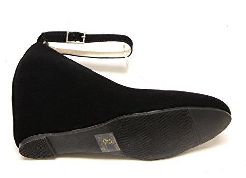 Bonnibel Cheryl-1 Womens hidden heel ankle strap round toe pumps Black oJMFbE