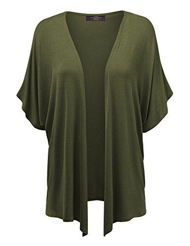 MBJ Womens Short Sleeve Dolman Cardigan 4XL Olive