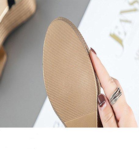 Sandalias Dorado Verano Cuñas Gruesa Impermeable WLG Mujer Mujer con con Nueva Suela Sandalias de de de de Cuesta Cuero 7HxnFU