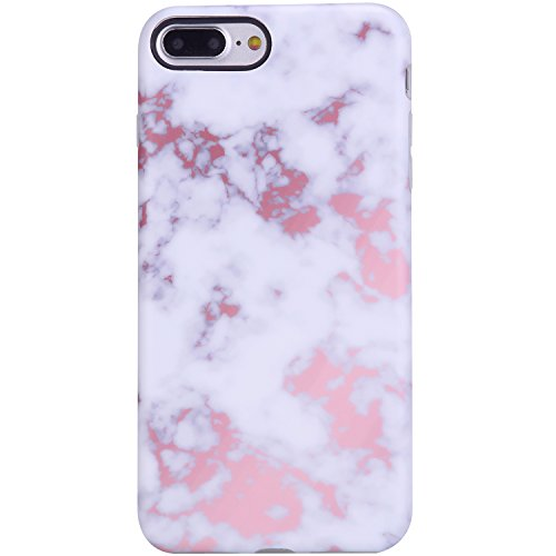 iPhone 7 Plus Case,iPhone 8 Plus Case,Champagne White Marble,VIVIBIN Shock Absorption Matte TPU Soft Rubber Silicone Cover Phone Case for iPhone 7 Plus/iPhone 8 Plus 5.5inch