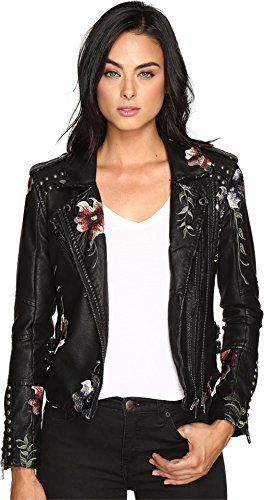 [blanknyc] Women's Black Vegan Leather Floral Embroidered Jacket, As You Wish, Medium