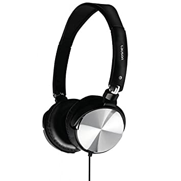 Lauson PH137, Auriculares de aro abiertos y plegables, Cascos ligeros, Negro