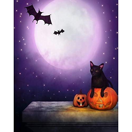 Chezaa 5D Diamond Painting Halloween by Number Kits - Diamond Embroidery Paintings Decor Arts Craft for Home House - Black Cat Design (25X30cm) (Multicolor) ()