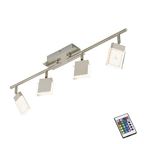 Briloner Leuchten LED Deckenstrahler, Farbsteuerung/Farbwechsel mit Fernbedienung, dimmbar, Deckenleuchte, Deckenlampe, Spots, LED Strahler, Wohnzimmerlampe, Deckenspot, Lampe Kinderzimmer, Deckenbeleuchtung, Deckenlampe Wohnzimmer-Kinderzimmer-Schlafzimmer, schwenkbar