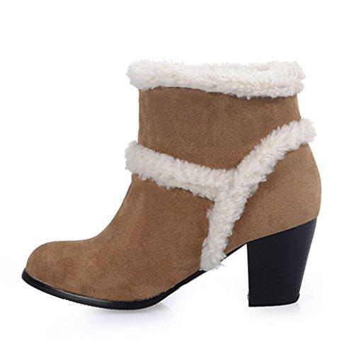 Grande Taille de aux Frotter Brown Femmes Rough avec Bottes Bottes Femelle Chaussure Neige 5RRHwx