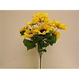 "Yellow Sunflowers Bush 11 Artificial Silk Flowers 18"" Bouquet 3007YL 109"