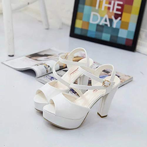 Electri Creux Shallow Cristal Simples Chaussures Sandales À Talons Printemps Été Mince Peep Plateforme Hauts Roma Toe Bouche Blanc Femmes Poisson qxvtBR