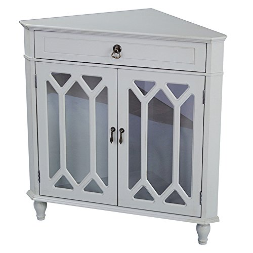 Heather Ann Creations 2-Door Corner Cabinet with Drawer and Cathedral Glass Insert, Sea Foam Green