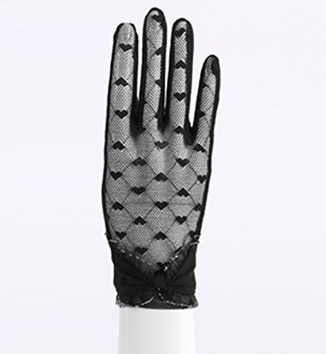 Women's Lace Floral Elegant Gloves for Driving/Party/Evening With''Love'' pattern by LAI MENG FIVE CATS (Image #4)