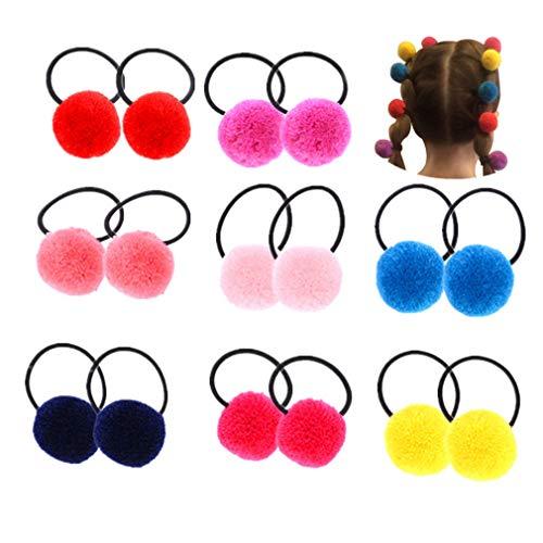 16 Pcs (8 Pairs) Pom Balls Elastic Hair Ties for Toddler Girls' Pigtail