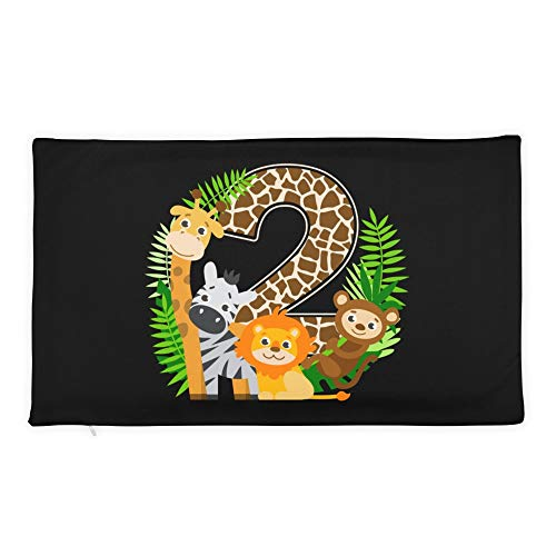 Hand Wooden Customizable Decorative Throw Pillow Covers Safari Jungle Zoo Animals Second Birthday Number Cases for Sofa Bedroom Car Rectangular Case Only 20 x 12 inch, 50 x 30 -