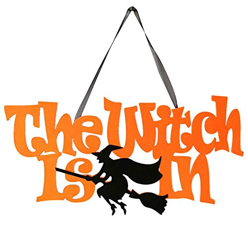 (Horror House Decor - The Witch Is In Non Woven Fabric Happy Halloween Hanging Door Sign Home Decor - Party Decorations Party Decorations Horror House Decor Witch Home Pumpkin Halloween)