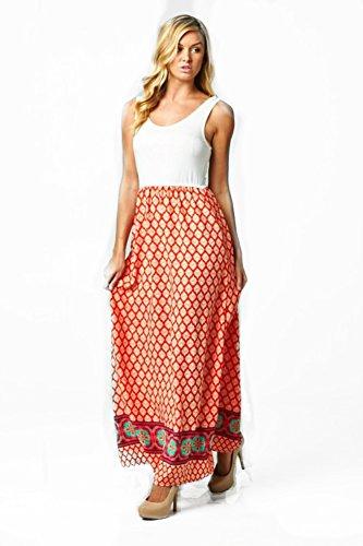 Reborn J Maxi Dress (MEDIUM, WHITE/CORAL)