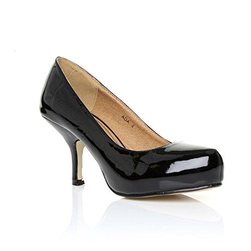 Femmes Dames 8 Noir Verni Taille DE Work Nouvelles Casual Court Escarpins Smart COLLECTION BASE Pompes Talon MID 3 Bureau StTwI