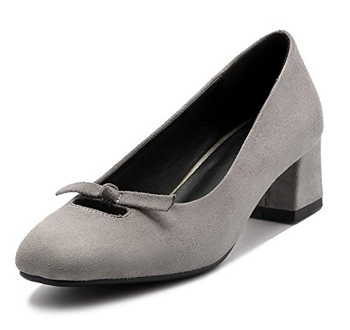 Frosted Pull Kitten Shoes On Pumps Heels Women's Toe Solid WeenFashion Gray Square vwO5IqYx