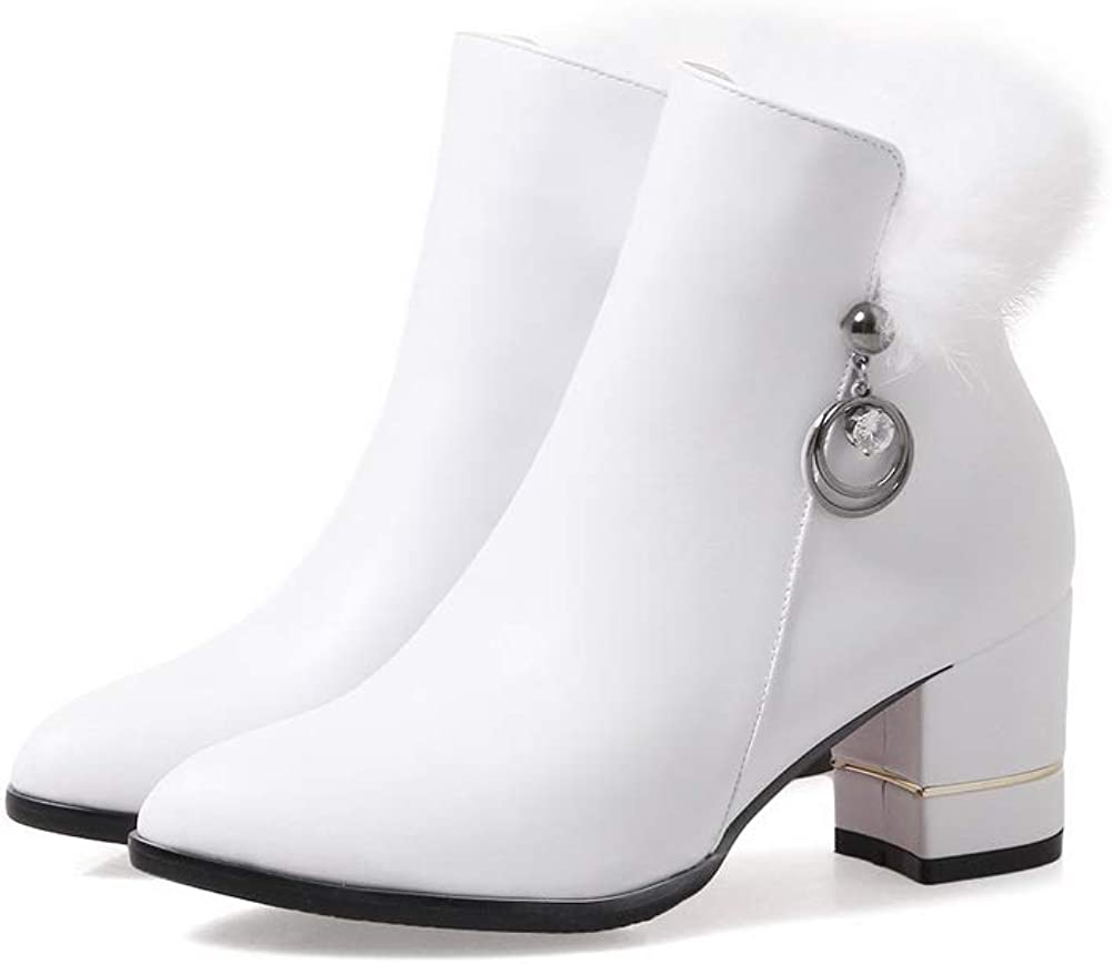 AN Womens Chunky Heels Metal Buckles Fur Collar Urethane Boots DKU02507