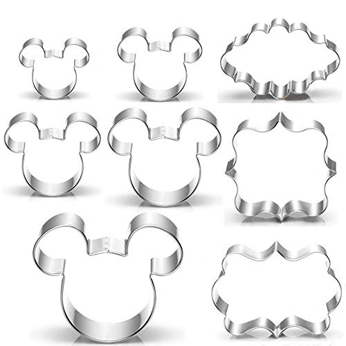 Jasonsy Mickey Mouse Cookie Cutter Set,Mickey Mouse Cookie Molds and Plaque Frame Pastry Biscuit Cookie Cutter Cake Fondant Pancake Cutters Mold for Kids Birthday Party(Set of 8)]()