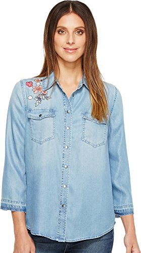 NYDJ Women's Embroidered Denim Shirt, Light Wash, X-Small
