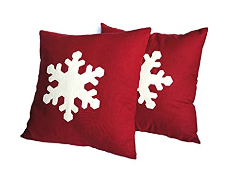 One Snowflake Christmas Pillow covers, 16x16, holiday pillow, decorative pillow, cushion, Christmas - Dutch Felt