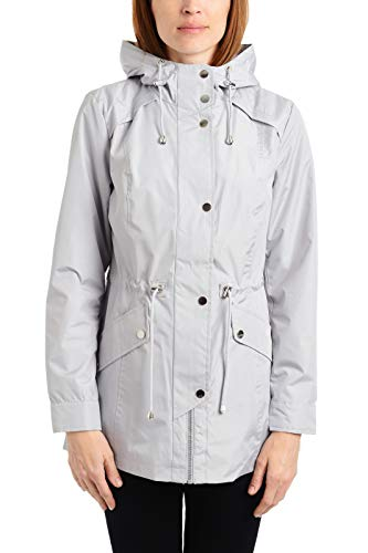 Details Women's Plus Size Zip Front Hooded Anorak Jacket, Pearl Grey M