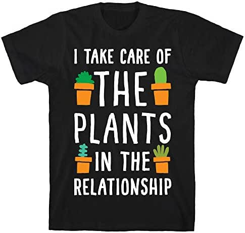 LookHUMAN I Take Care of The Plants in The Relationship Black Men's Cotton Tee