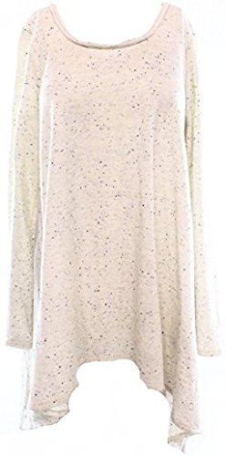 Studio M Womens French Terry Shark Bite Hem Knit Top Taupe S