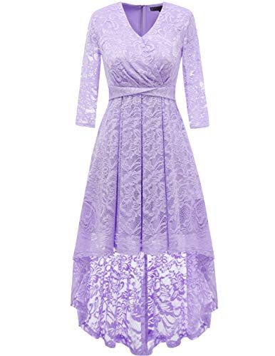 DRESSTELLS Women's Vintage Floral Lace Bridesmaid Dress 3/4 Sleeve Wedding Party Cocktail Dress Lavender L