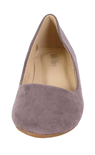 Bella Marie Stacy-12 Womens Round Toe Slip on Ballet Flat Shoes Grey GiIDSh