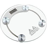 Digital Body Weight Bathroom Scale, Tempered Glass, Precision Graduation: 0.1kg -150kg,Transparent Round