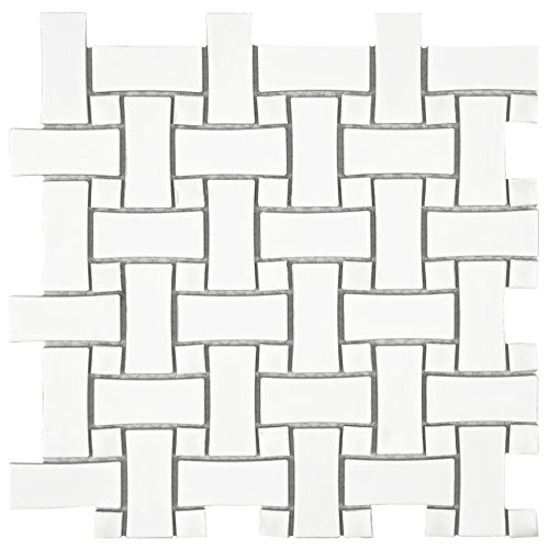 - SomerTile FDXMBWWW Retro Dog Bone Basket Weave Glazed Porcelain Mosaic Floor and Wall 10.5