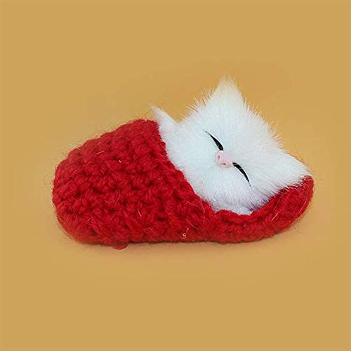 YGMONER Mini Lovely Cat Slippers Plush Toys with Sound Simulation Animal Ornaments Crafts Christmas Cat Shoes Kids Gifts (red) ()