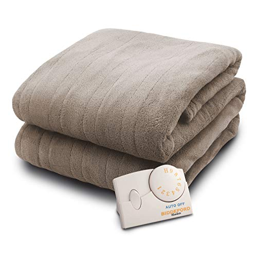 Biddeford Heated Blanket with 10 Heat Settings, 10 Hour Auto Shutoff and Ultra Thin Wire, TAUPE (TWIN)