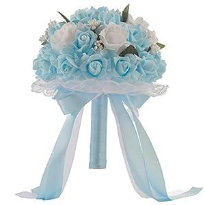 WensLTD_ Wedding Bouquet, Crystal Roses Bridesmaid Wedding Bouquet Bridal Artificial Silk Flowers 64