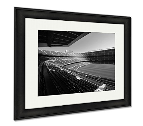 Ashley Framed Prints Wide View Of Fc Barcelona Nou Camp Soccer Stadium, Modern Room Accent Piece, Black/White, 34x40 (frame size), Black Frame, AG5599282 by Ashley Framed Prints