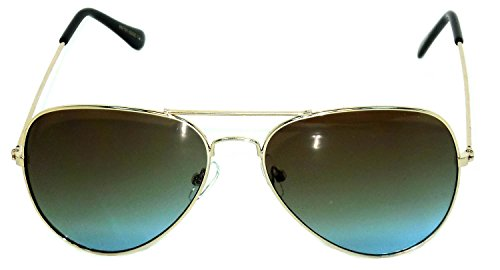 Aviator Style Golden Color Metal Frame Sunglasses Brown-Blue - Colour Golden Aviator