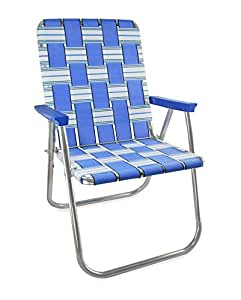lawn chair usa webbing chair deluxe blue sands with blue arms garden outdoor. Black Bedroom Furniture Sets. Home Design Ideas