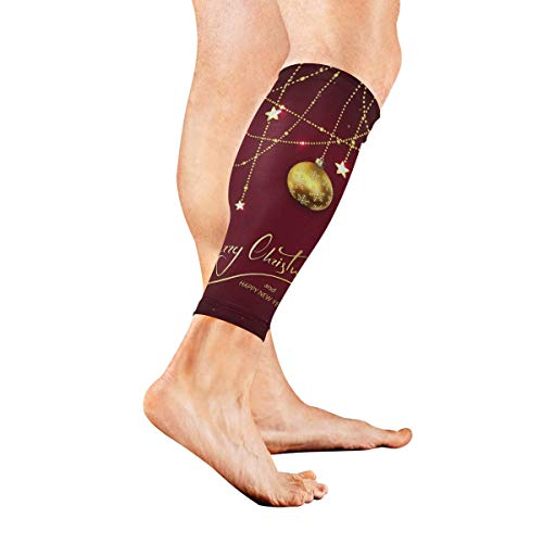 KMAND Leg Sleeve Merry Christmas Ball Red Compression Socks Support Non Slip Calf Sleeves Pads - Improve Circulation for Shin Splint, Calf Pain Recovery, Running, Cycling, Travel, 1 Pair