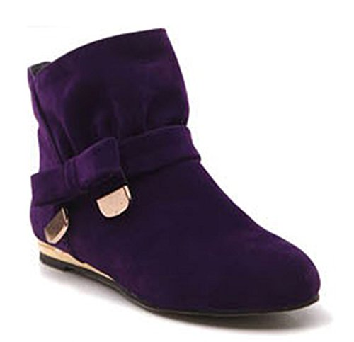 Aisun Women's Sweet Bowknot Suede Flat Ankle Boots Purple 11 B(M) (Plus Size Boots Cheap)