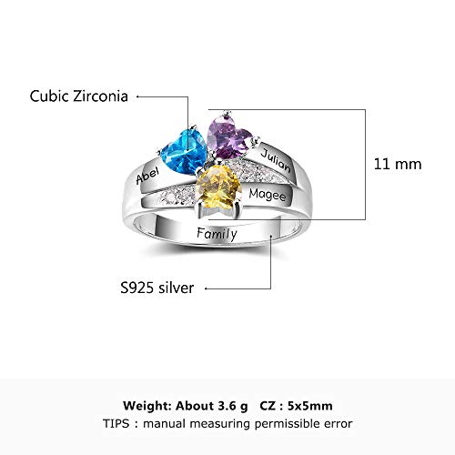 e778926378a5c Diamondido Personalized Simulated Birthstone Mothers Ring with ...