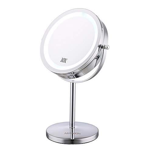 Lighted Makeup Mirror - 7'' LED Vanity Mirror 10x Magnification Two-Sided Cosmetic Table Mirror Polished Chrome ALHAKIN by AlHAKIN