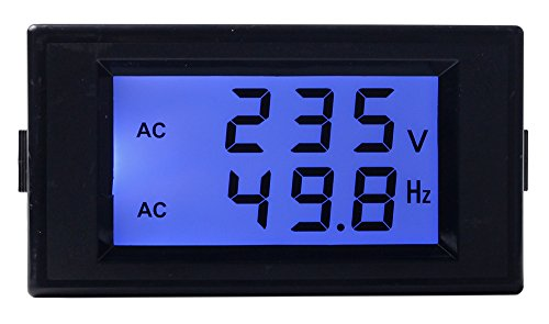 Digital Frequency Meter (UCTRONICS AC 80-300V Digital AC Voltmeter 45.0-65.0Hz Frequency Counter 2 in 1 Multifunction Panel Meter Dual LCD Blue Backlight Monitor Display Voltage Frequency)