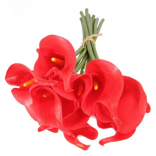 Angel Isabella Real Touch Calla Lily Bunch-10pc Set-Artificial Latex Flower-red.