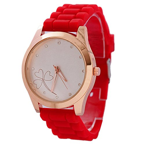 Sunward Women Heart-shaped Flower Silicone Crystal Diamond Quartz Jelly - Watches Heart Crystal Shaped