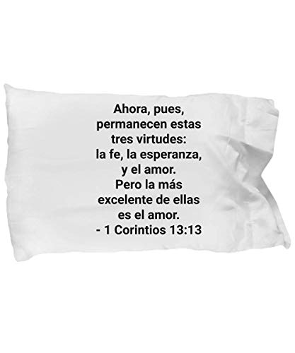 NODAGI Spanish Bible Verse Pillow Case - Corintios 13 13 - Christian Stuff  Gifts in Spanish Verses