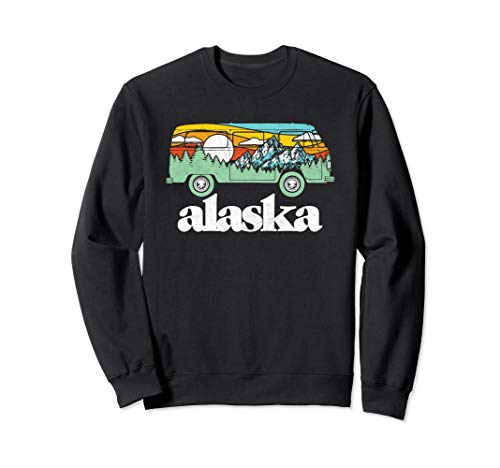 Retro Alaska Hippie Van Mountains Trees & Sun Scene Graphic Sweatshirt