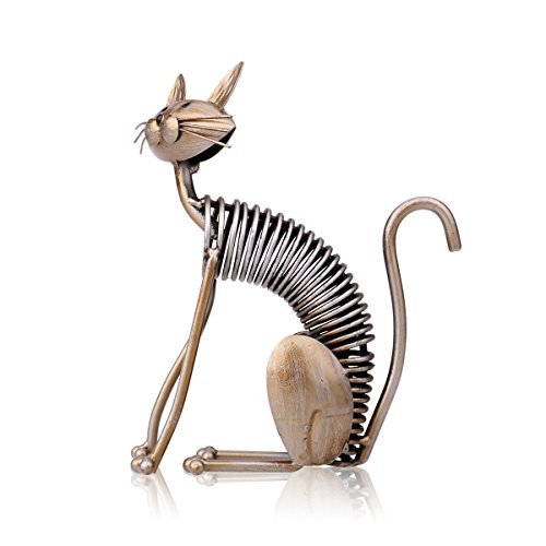 Tooarts Metal Sculpture Iron Art Cat Spring Handicraft Crafting Home Decoration Furnishing Craft