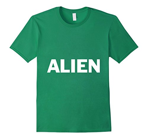 [Men's Alien Lazy Halloween Costume Funny T Shirt Medium Kelly Green] (Out Of This World Alien Costume)